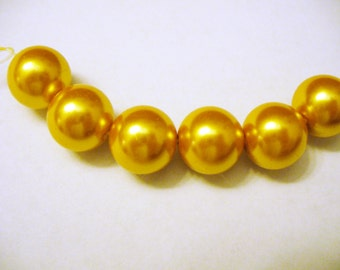 Glass Pearls Gold Round 14MM
