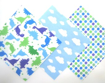 "36 Flannel Pre Cut Rag Quilt Kit in Fun Dinosaurs, Clouds and Dot Print Flannel 6""x6"" Quilt Squares"
