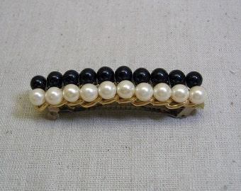 White Pearl Black Bead Hair Barrette, Vintage