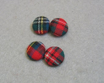 Vintage Plaid Fabric Button Design Cuff Links