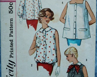 Vintage Maternity Blouse Top Pattern Simplicity 2562 1950s Sleeveless Long Sleeve Square Neck Round Collar