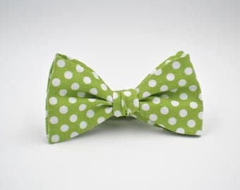 Freestyle Bow Ties, Apple Green Polka Dot Bow Tie, Self Tie Bow Tie, Green Bowtie, Adjustable Length- Remove with Bow In Tact