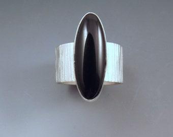 Black Onyx- Sleek and Edgy- Striking Design- Black Gemstone- Hammered Sterling Silver Ring