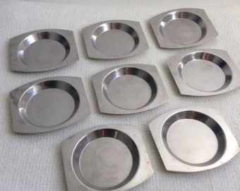 Vintage Modernist Stainless 8 Nut Dishes. 1960's Stainless steel,  made in Italy.  Mod, Mid century, Danish Modern, Eames era.