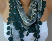 Emerald Green Zebra Scarf Spring Summer Scarf Necklace Cotton Shawl Cowl Gift Ideas for Her  Women's Fashion Accessories Women Scarves