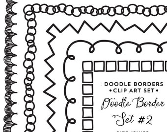 Doodle Border Digital Frames Clip Art Square Frames Clipart - Instant Digital Download