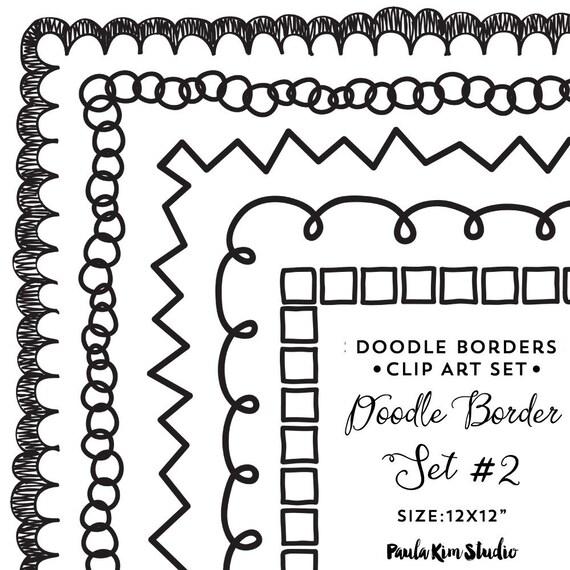 Doodle Border Frames Clip Art Square Frames Clipart - Instant Digital Download