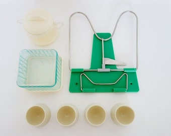 Vintage Kitchen Set: Butter Box, Creamer, 4 Eggcups, Cookbook Holder Beige and Green Made in West Germany