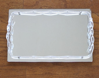Lucite Mirror Vanity Tray - Mid Century Mirrored Tray with Lucite Frame - Perfume Tray - Rectangular Vanity Tray