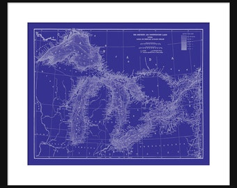 Map Great Lakes  -  Map Art - Lake Superior, Lake Michigan, Lake Huron, Lake Erie