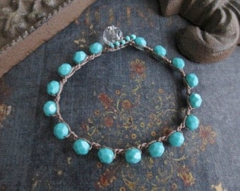 Boho beaded crochet bracelet - slashKnots Stackers 'Turquoise Twist' crochet jewelry aqua blue turquoise boho by slashKnots