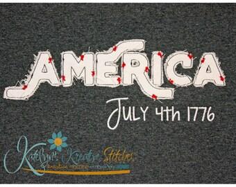 America Text Distressed Applique