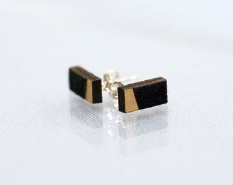 Miniature Black and Gold rectangle stud earrings