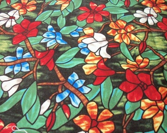 Stained Glass Fabric  Flowers on Dark Green Background New By The Fat Quarter