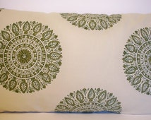 Green Medallion Pillow Laura and Kran Chakra Handprint Sun Green Suzani Pillow Cover Green Tan Pillow 16 18 20