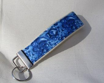 Keyfob wristlet / key chain /water droplets /fabric key fob