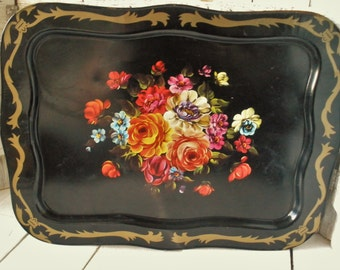 Vintage metal tray large black floral lipped Cottage Shabby Chic