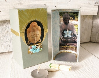 Small prayer box Buddhist shrine meditation upcycled embellished pocket size
