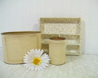 Vintage Ivory Leatherette with Gold Tooling Trim 3 Piece Desk Set - Retro Mail Bin, Pencil Cup & Drawer Organizer Library Office Accessories