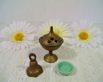 Vintage Incense Burner 3 Pieces Collection for Meditation - Brass Bell Incense Burner and Miniature Sea Foam Ceramic Dish - Made in India