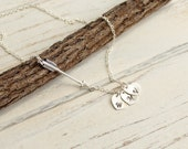 Sterling Silver Arrow Necklace with Family Initial Heart Charms