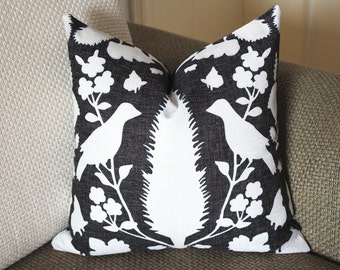 black Pillow, Bird Pillow, Decorative Throw Pillow Cover Invisible Zipper Closure, Toss Pillow, Accent Pillow 387
