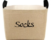 Socks Burlap Storage Bin - elegant rustic laundry room organization