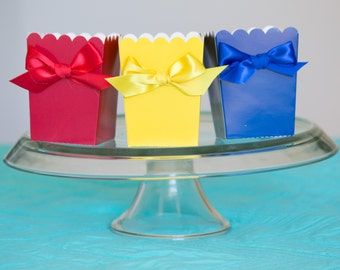 Snow White Party Favor Boxes with Ribbon, Red, Yellow, Blue, Goody Boxes, Goodie Favor Boxes, Birthday Party Favors, Party, 12 CT