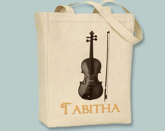 Violin Personalized Canvas Tote - Selection of sizes and image and font colors