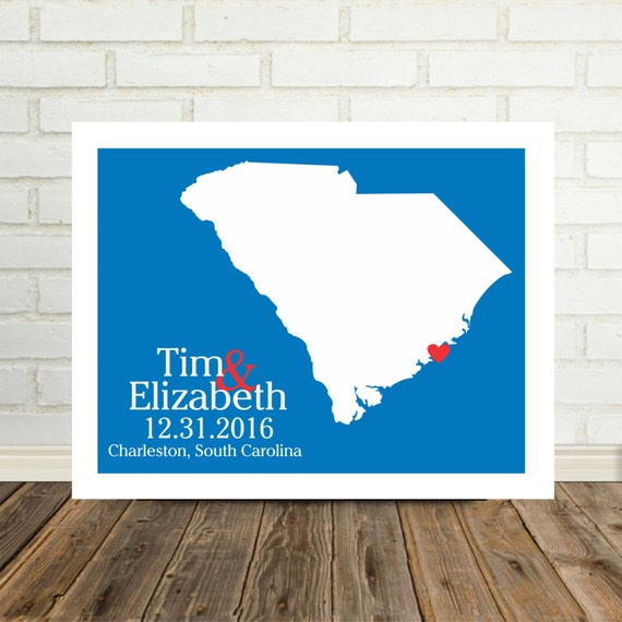 South carolina map gift personalized poster