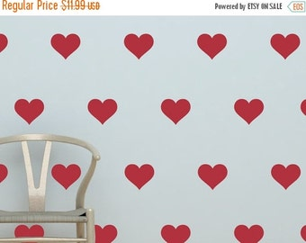 """ON SALE - Heart Decals - Set of (35) 3"""" Hearts - Vinyl Wall Decal Stickers"""