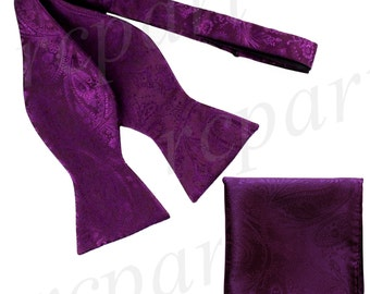 Men's Paisley Purple Self-Tie Bowtie and Handkerchief, for Formal Occasions