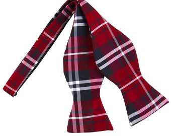 Men's Plaid Black Red White Self-Tie Bowtie, for Formal Occasions