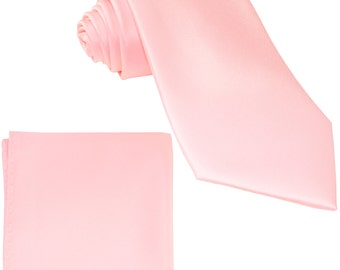 Men's Solid Pink Big & Tall Extra Long Necktie and Handkerchief, for Formal Occasions