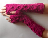 Hot Pink Fingerless Gloves Wool Cable Fingerless Mittens Modern Knit Arm Warmers Warm Hand Warmers Winter Gloves Fashionable Mitts - KG0078
