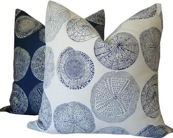 Navy Pillow - Nautical Pillow - Beach Pillow - Shell Pillow - Beach House Pillow - Navy Toss Pillow - Decorative Pillow - PILLOW COVER ONLY