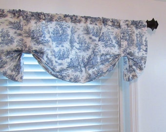 Toile TIE UP Lined Valance Navy Blue White Country Cottage  Shabby Chic French Decor Custom Sizing Available!