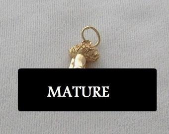 "THE NUB (very small)  Penis Pendant,   24 Karat Gold Finish (3/4"" by 1/2"")"