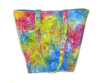Tie Dye Tote Bag, Cloth Purse, Paisley, Batik, Fabric Bag, Handmade Handbag, Blue, Green, Pink, Shoulder Bag