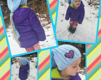KIDS PHISH HAT I Heart the Phunk Fishman Donut Slouchy Baby Blue Winter Hat, kids size,  Unisex, ooak, Free Gift Wrap Option
