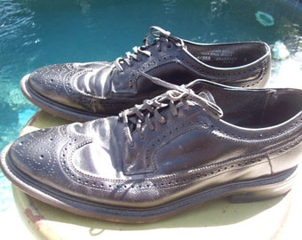 Mens Black Leather Wingtip Shoes, Hanover, Made in USA