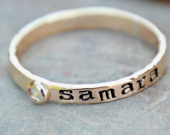 HAND STAMPED BIRTHSTONE Name Ring - hand stamped birthstone ring - Mother's Ring - Name Ring - hand stamped stacking birthstone ring -