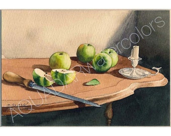 READY TO SHIP Original Watercolor Painting Still Life with Green Apples  Modern Wall Art Home Decor Kitchen Decor Gift for Her Framed