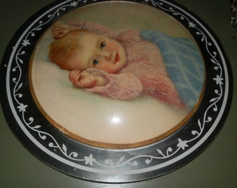 Antique Baby Print- Convex Glass Mounted on Mirror
