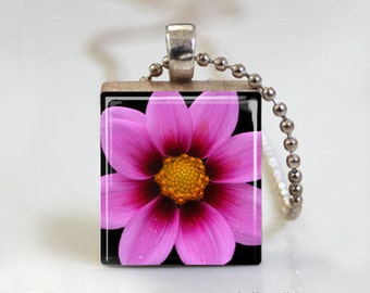Pink Floral Art Bloom Print - Scrabble Tile Pendant - Free Ball Chain or Key Ring
