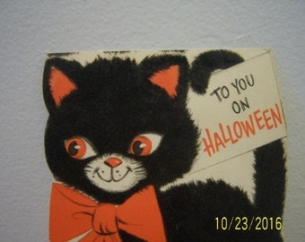 Vintage Halloween Greeting Card - Vintage Ephemera - Halloween Card - Cat Greeting Card - Hallmark Card - Black Fuzzy Cat - Made in USA