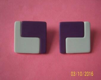 Purple And White Earrings - Lucite Earrings - Plastic Earrings -  MOD Earrings - Geometric Earrings - Color Block Earrings - Pierce Earrings