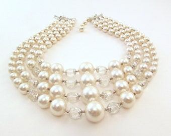Imitation Pearl Bib Necklace - Multi Strand Japan - 4 Strands with Crystal Beads - Bridal - Prom