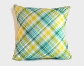 Plaid blue yellow decorative pillow cushion covers. 1 cover for 20x20 cushion insert. Preppy retro classic tartan spring summer window seat