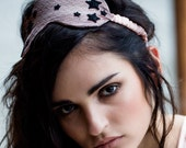 Sleep Mask Lingerie Eye Pillow / Pink Black Star Silk Lace / TEMPEST Sleep Mask - Nightfall / Shell